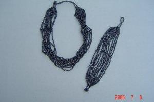 Beaded Jewelry Glass Seed Beads Necklace & Bracelet Set
