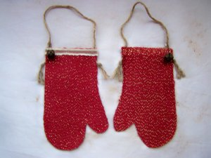 Primitive Mitten Stocking Country Christmas Ornaments Rustic Rusty Ornament Set