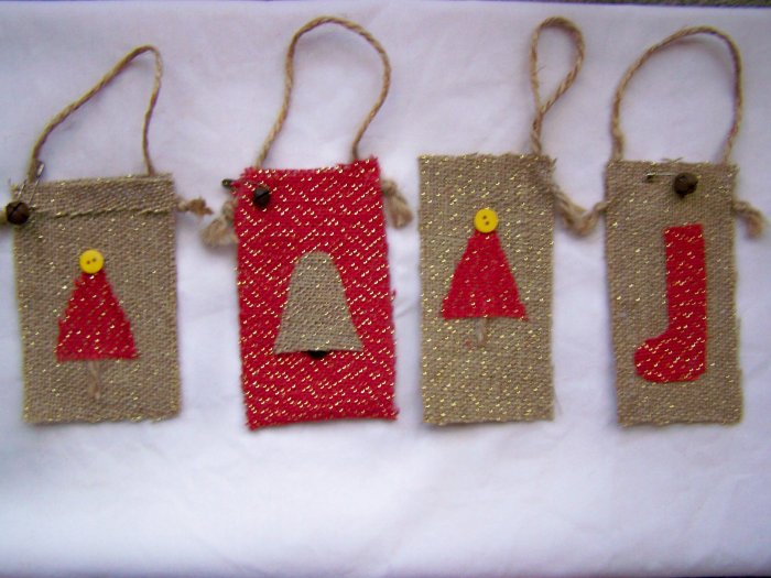 Primitive Christmas Tree Ornaments Country Stocking Rustic Bell Rusty Prim Set