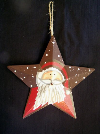 Country Christmas Metal Santa Star Ornament Tin Decoration 1 Cent USA Shipping