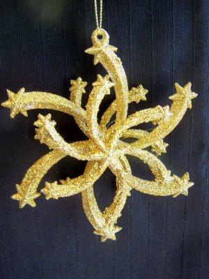 2 Gold Glitter Retro Star Christmas Tree Ornament 1 Penny USA Shipping Ornaments