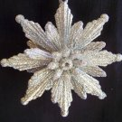 New Retro Silver Glittery Poinsettia Flower Christmas Tree Ornament 1 Cent USA Shipping