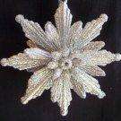New Retro Silver Glittery Poinsettia Flower Christmas Tree Ornament 1 Cent USA Shipping