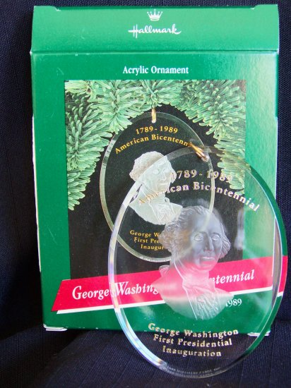 Vintage George Washington Bicentennial Christmas Ornament First Presidential Inauguration .01 Ship