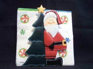 3 D Primitive Metal Santa Napkin Towel Holder Christmas Tree 1 Cent USA Shipping