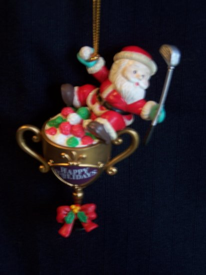 Vintage Golfing Santa Christmas Tree Ornament Trophy Golf Balls Club