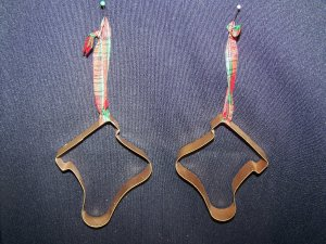 2 Gold Stocking Cookie Cutter Country Christmas Tree Ornaments Ornament 1 Cent USA SHipping