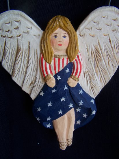 Americana Angel Christmas Tree Ornament Metal Hanger 1 Cent USA Shipping