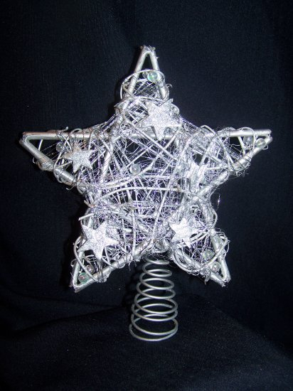 Country Silver Wood Sticks Star Christmas Tree Topper Primitive Spring 1 Cent USA Shipping