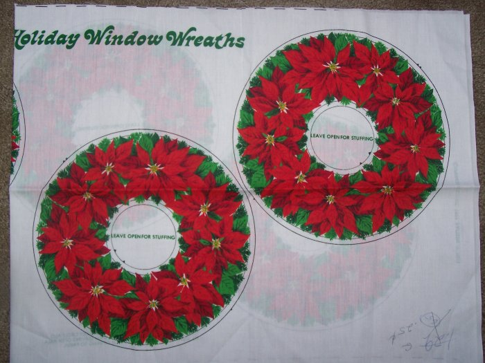 2 Vintage Panels Stuffed Christmas Poinsettia Fabric Wreaths 1977 USA Shipping 1 Penny