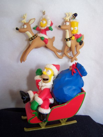 3 Simpsons Christmas Ornaments Santa Homer Bart Lisa on Reindeer New