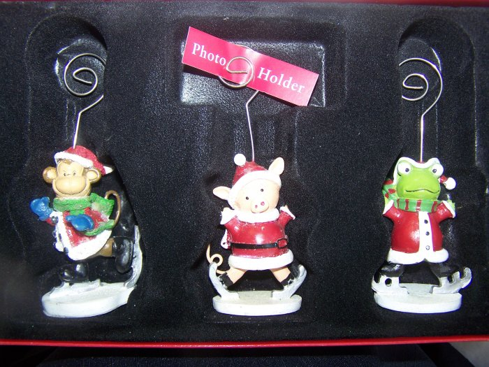 Christmas Photo Wire Clip Picture Holder Set Santa Monkey Pig Frog Ice Skating