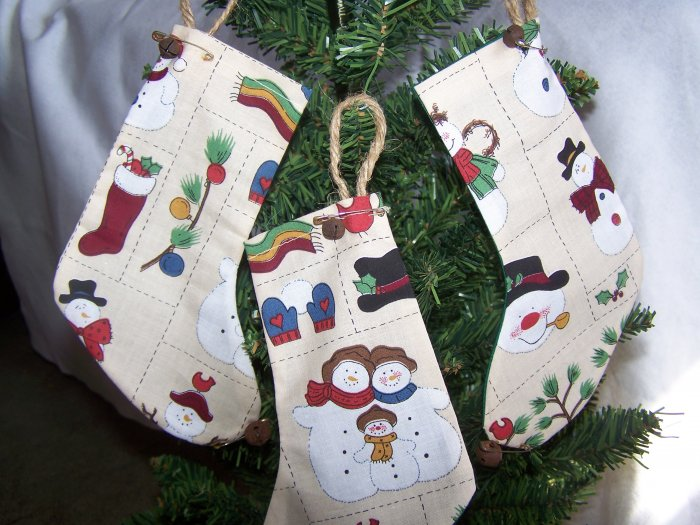 3 Prim Country Snowman Stocking Ornament Rusty Bells Primitive Ornaments