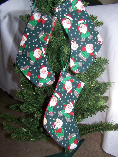 3 Fabric Santa Stockings Christmas Tree Ornament Set 1 Cent Shipping