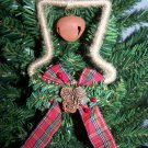 3 Country Snowman Hat Christmas Tree Ornaments Primitive Rustic Rusty Bell