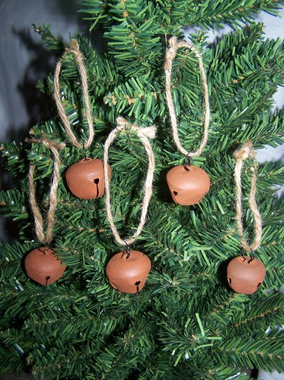 10 Primitive Rusty Metal Jingle Bell Christmas Tree Ornaments Country Rustic Ornament Set