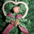 Country Heart Christmas Tree Ornament Set Rusty Primitive Bells