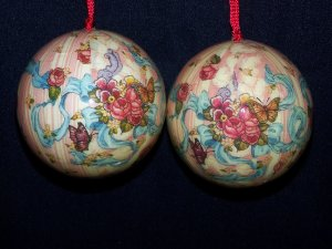 Vintage Floral Lot Decoupage Cottage Christmas Tree Ornaments Shabby Pink Ticking Roses BUtterflies