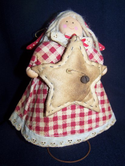 Primitive Angel Doll Christmas Tree Star Topper Make Do Grungy Rusty Bed Spring Nodder