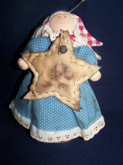 Rustic Angel Star Christmas Tree Topper Shelf Sitter Decoration Rusty Spring