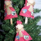 3 Primitive Santa Christmas Tree Ornaments Country Clothes Pin Ornament 1 Cent S&H