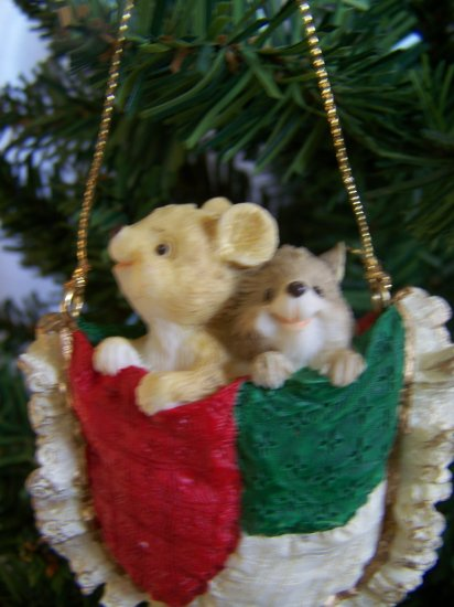 Mouse Christmas Ornament Mice Pocket 1995 USA Shipping 1 Penny