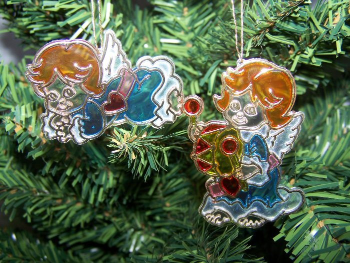 Plastic Stained Glass Angels Christmas Ornaments Angel 1 Penny Shipping