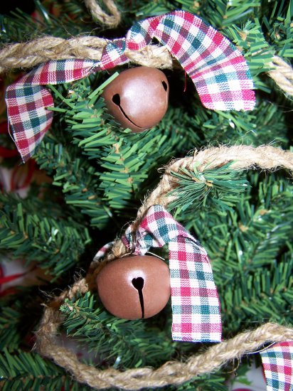 SALE Primitive Christmas Rope Garland Country Western Rusty Jingle Bells Homespun Rustic $1 Ship
