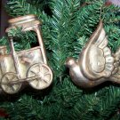 1980s Vintage Christmas Ornaments Train Dove Brass Copper 1 Penny Shipping USA