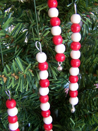 Lot of 10 Wood Bead Icicle Jingle Bell Wooden Beaded Christmas Ornaments