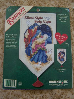 Counted Cross Stitch Christmas Banner Pattern Kit Silent Night Holy Night 8583