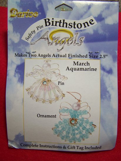 Darice Safety Pin Birthstone Angel Craft Kit Aquamarine March Birthday Christmas Bead Ornament