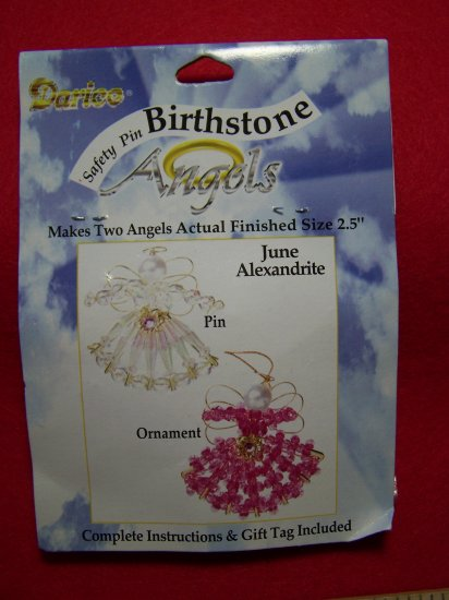 Darice Safety Pin Birthstone Angel Craft Kit June Birthday Christmas Beaded Ornaments