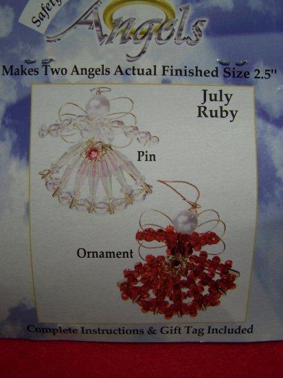 Darice Safety Pin Birthstone Beaded Angel Craft Kit July Ruby Birthday Christmas Ornaments