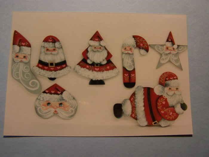 Vintage Santa Collection 7 Wood Ornaments Patterns by Rosemary West Wooden Ornament
