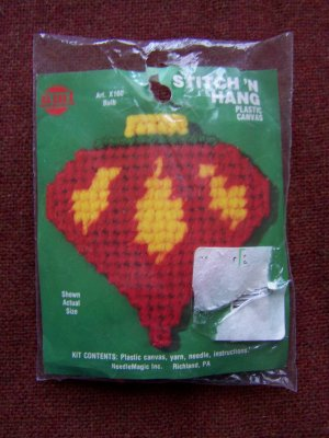 Vintage Christmas Tree Ornament Craft Kit Plastic Canvas Bulb 1 Penny USA S&H