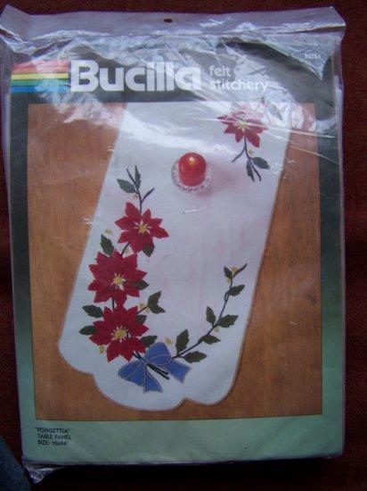 SALE Vintage Bucilla Christmas Felt Table Runner Poinsettia Bead Sequin Applique Craft Kit 82354