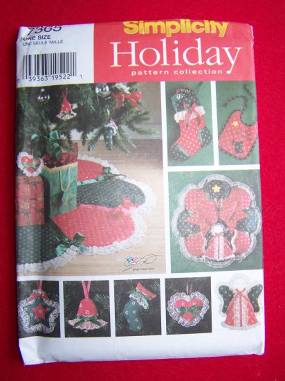 Christmas Sewing Pattern Ornaments Wreath Angel Tree TOpper SKirt Stocking Bib 7365