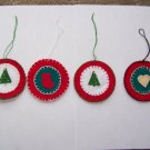 4 Penny Rug Christmas Tree Ornaments Beaded Sequin Trees Heart Stocking USA 1 Cent S&H