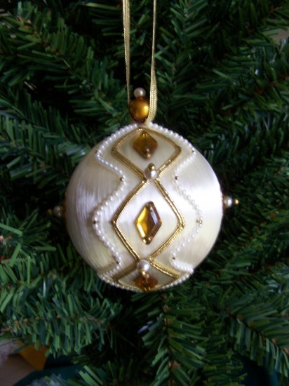 Vintage Satin Ball Christmas Ornament Pearl Gold Beads Victorian Beaded #5