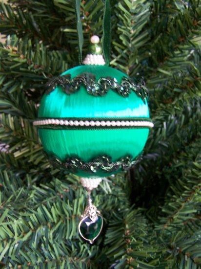 Vintage Beaded Sequined Green Satin Ball Christmas Ornament Jem Dangle #6