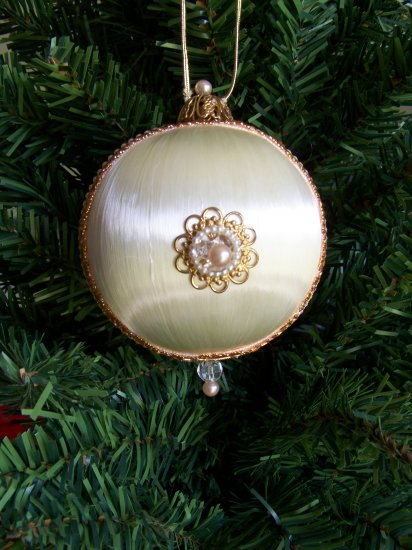 Vintage Satin Ball Christmas Tree Ornament Victorian Decorated Gold Metal Pearl Beads Velvet Ribbon