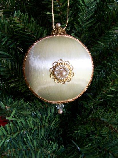 Vintage Tin Christmas Tree Ornaments : Vintage satin ball christmas tree ornament victorian