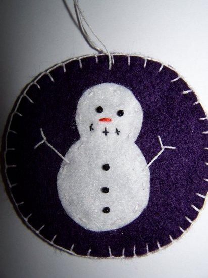 2 Purple Snowman Penny Rug Ornament Christmas Tree Decoration USA 1 Cent Shipping
