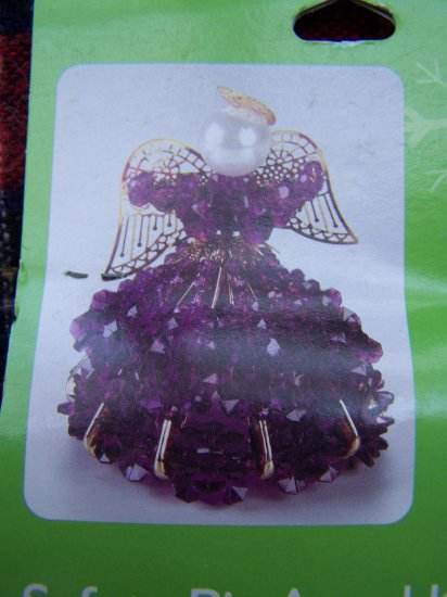 New Purple Angel Safety Pin Wire Beaded Christmas Tree Ornament Kit