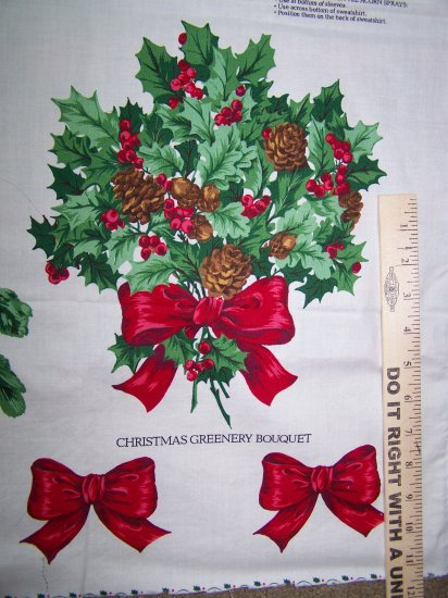 $1 USA S&H Christmas Greenery Fabric Panel Poinsettia Cardinals Bows Appliques