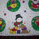 $1 USA S&H Christmas Fabric Panel Sue Dreamer Cats Dogs Bears Appliques CLothing Art