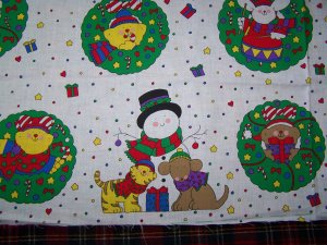 USA S&H Christmas Fabric Panel Sue Dreamer Cats Dogs Bears ...