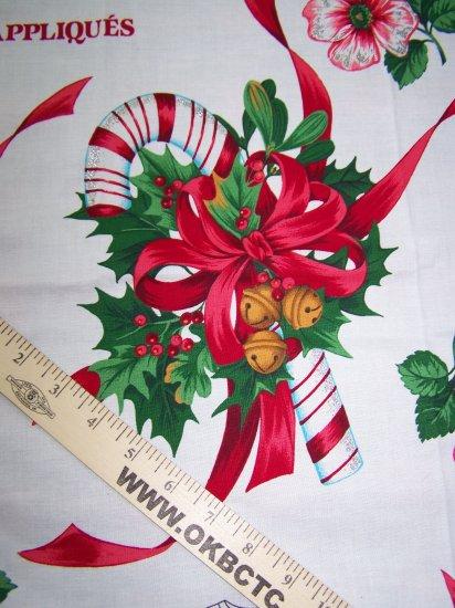 Vintage Christmas Star Dust Applique Cotton Panel Tree Hibiscus US $1 S&H