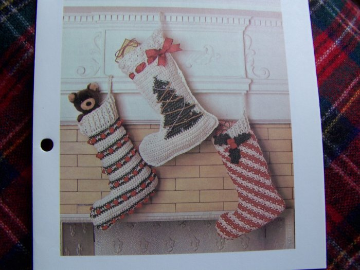 USA 1 Cent Shipping 3 Vintage Christmas Stocking Crochet Patterns